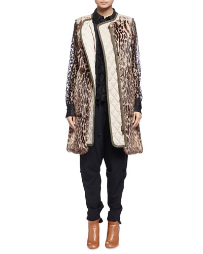 Leopard-Print Fur Paneled Long Vest, Sheer Leopard-Pattern Lace Blouse & Folded-Waist Back-Zip Cuffed Harem Pants