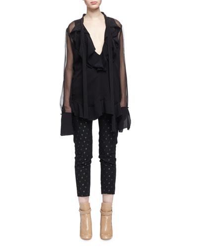 Extended-Sleeve Ruffled Sheer-Inset Blouse & Metallic Diamond-Pattern Skinny Ankle Pants