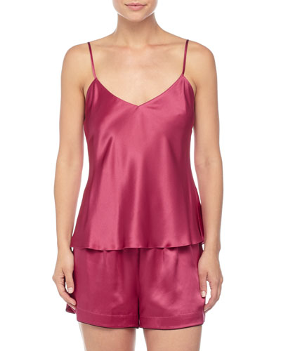 Solid Silk Lounge Tank & Shorts, Claret