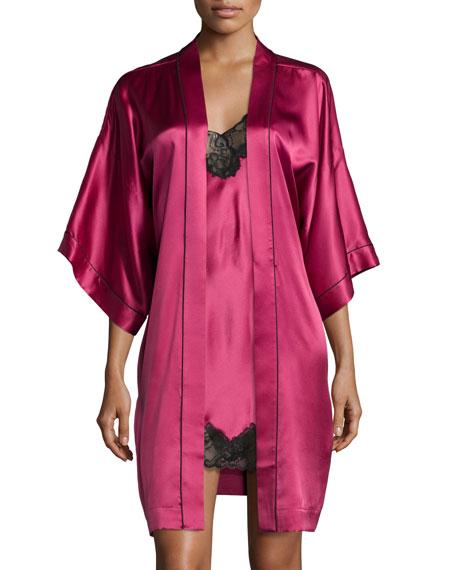 Neiman Marcus3/4-Sleeve Short Robe, Claret
