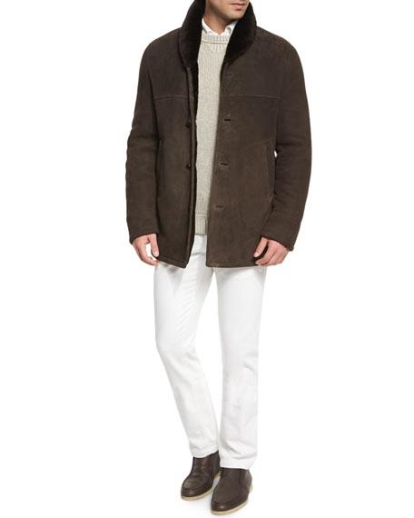 Loro Piana Baby Cashmere Textured Crewneck Sweater, Beige