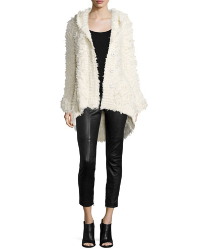 Cozy Cardigan with Hood & Leather Stretch Moto Pants