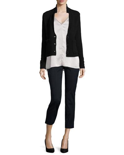 Wool-Blend Sweater Blazer & Fringe-Trimmed Satin Cami Top