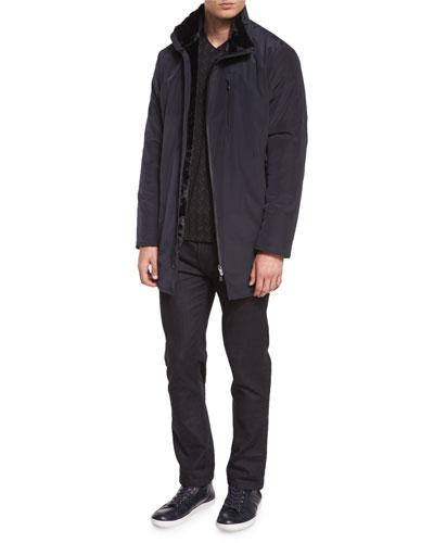 Asymmetrical-Zip Jacket with Faux Fur & Five-Pocket Slim-Fit Stretch Jeans