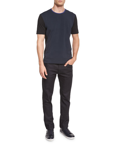 Colorblock Short-Sleeve Knit Tee & Five-Pocket Slim-Fit Stretch Jeans