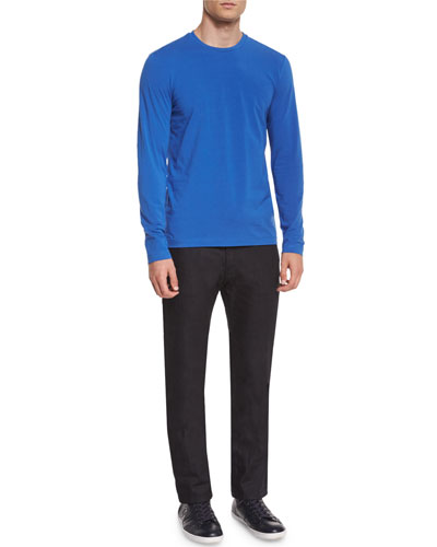 Solid Long-Sleeve Knit Tee & Five-Pocket Slim-Fit Stretch Jeans