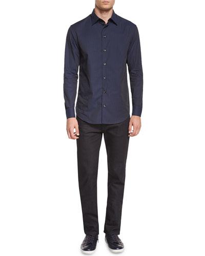 Tonal Plaid Long-Sleeve Woven Shirt & Five-Pocket Slim-Fit Stretch Jeans