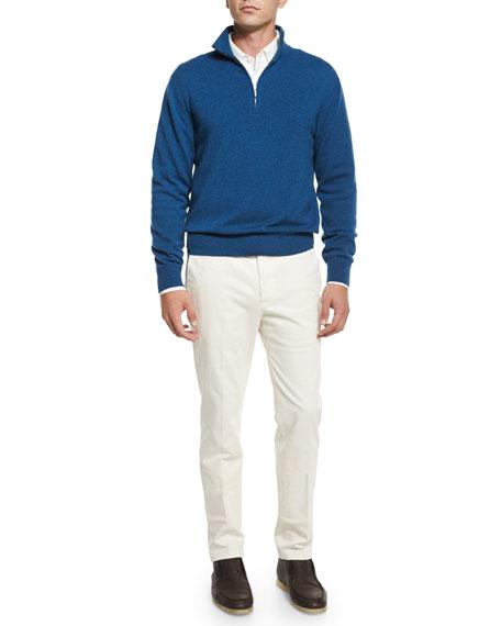 Loro Piana Four-Pocket Cotton-Stretch Jeans, White