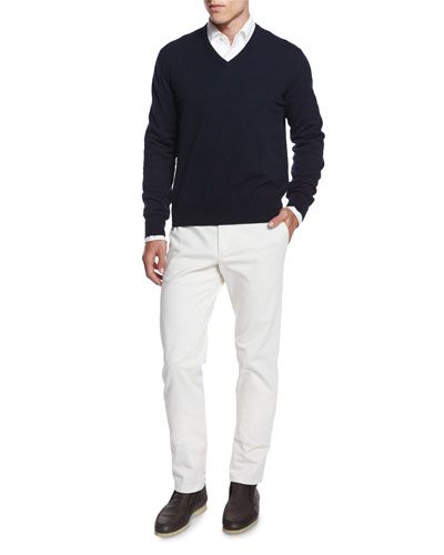 Baby Cashmere V-Neck Sweater, Andre Long-Sleeve Polo Shirt & Five-Pocket Stretch Denim Jeans