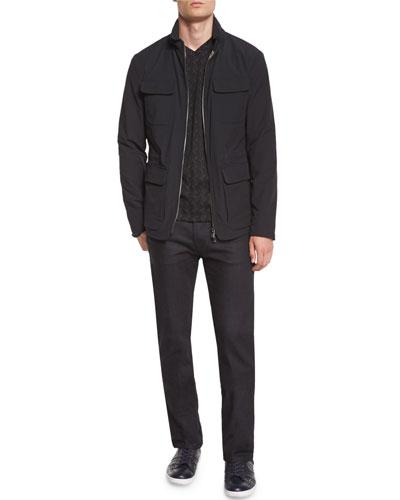 Four Flap-Pocket Field Jacket, Tonal Chevron-Print Long-Sleeve Shirt & Five-Pocket Slim-Fit Stretch Jeans