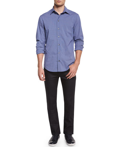 Check Long-Sleeve Woven Shirt & Five-Pocket Slim-Fit Stretch Jeans