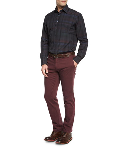 Plaid Long-Sleeve Sport Shirt & Cotton-Stretch Pants