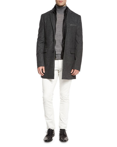 Birdseye Wool Coat with Nylon Gilet, Merino Wool Turtleneck Sweater & Five-Pocket Slim-Fit Pants