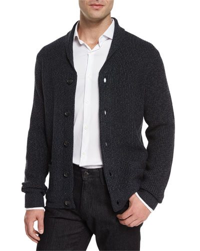 Shawl-Collar Wool Cardigan & Cotton-Stretch Sport Shirt