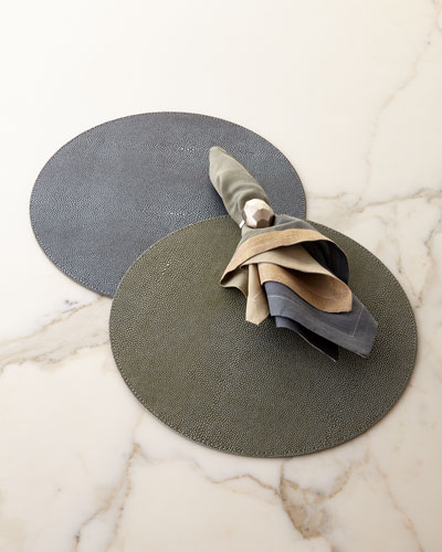 Shagreen Placemats, Dip Dye Napkin, & Amulet Napkin Ring