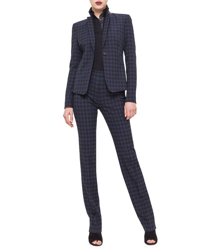 Check-Print One-Button Blazer, 3/4-Sleeve Button-Front Blouse & Francoise Check-Print Slim-Leg Pants