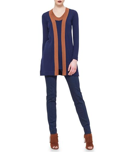 Contrast-Trimmed Open-Front Cardigan, V-Neck Contrast-Trimmed Tank & Mara Seamed Skinny Jersey Pants,