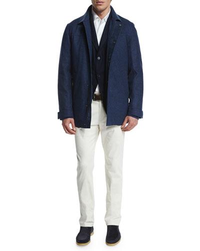 Loro Piana Cashmere-Silk Three-Button Sweater Jacket,