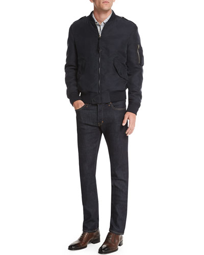 TOM FORD MA1 Lightweight Bomber Jacket, Tattersall Check
