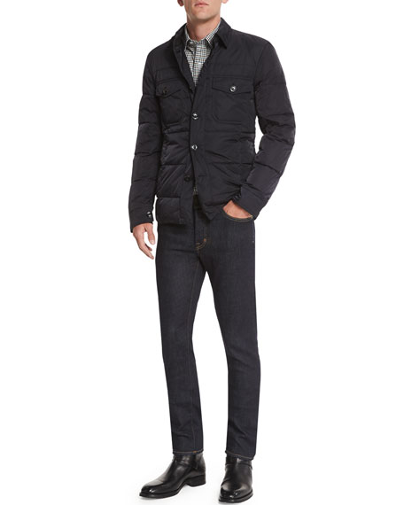 TOM FORD Quilted Down-Fill Shirt Jacket, Navy