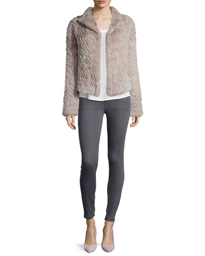 Worley Rabbit Fur Coat & Super Skinny Zip-Side Jeans