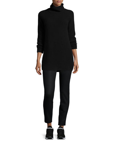 Eurala Cashmere Turtleneck Sweater & Thaniel Cropped Slim Flannel Pants