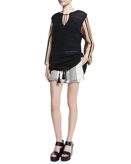 Derek Lam Cropped-Sleeve Crochet Top, Black Multi