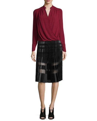 Jaklyn Draped-Front Blouse & Taura Faux-Leather Plisse Skirt