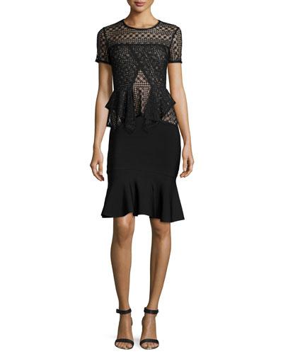 Karine Short-Sleeve Lace Peplum Top & Sanya Flounce Skirt