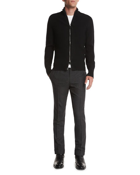 TOM FORD Textured Pique-Stitch Full-Zip Cardigan, Black