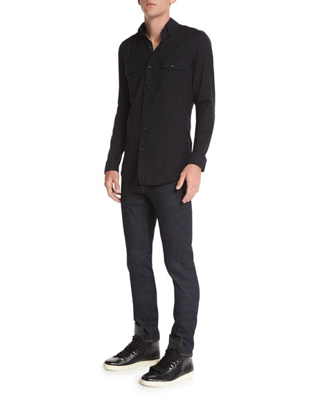 TOM FORD Washed Cotton-Cashmere Sport Shirt, Black