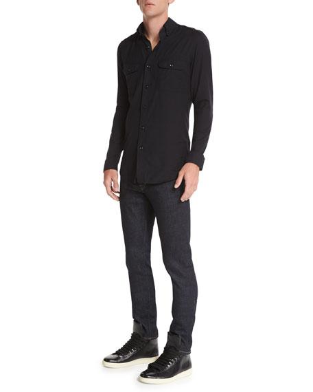 TOM FORD Washed Cotton-Cashmere Sport Shirt, Black