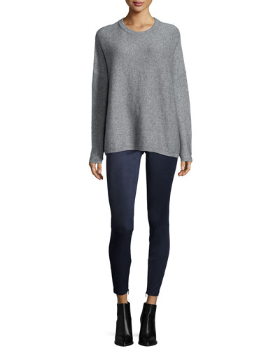 Textured Cashmere-Blend Crewneck Sweater & Stretch-Suede Zipper-Cuff Leggings