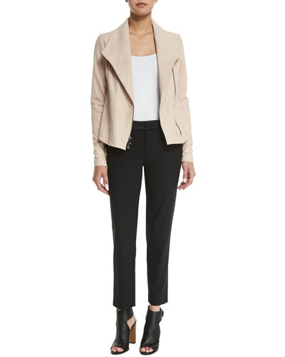 Leather Scuba Jacket & Satin-Striped Tuxedo Trousers