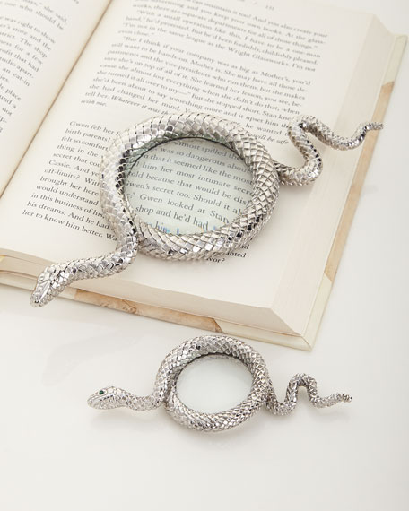 L'Objet Snake Small Platinum-Plated Magnifying Glass