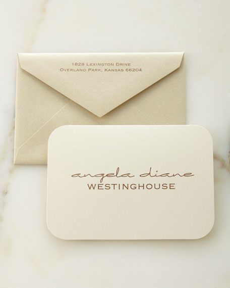 Ecru Shimmer Personalized Folded Notes with Personalized Envelopes