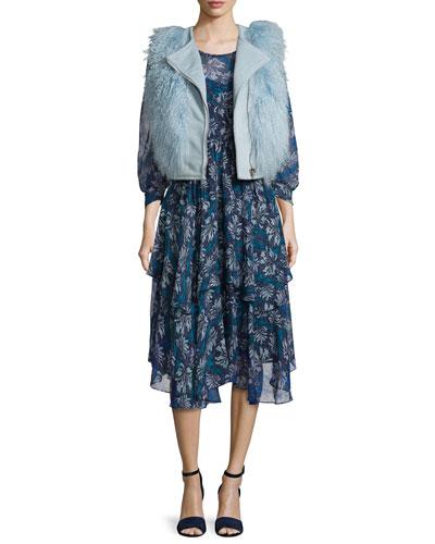 Asymmetric-Zip Fur-Trim Vest & Mystic Silk Chiffon Dress