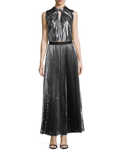 Sleeveless Twist-Front Metallic Top & Pleated Metallic Maxi Skirt