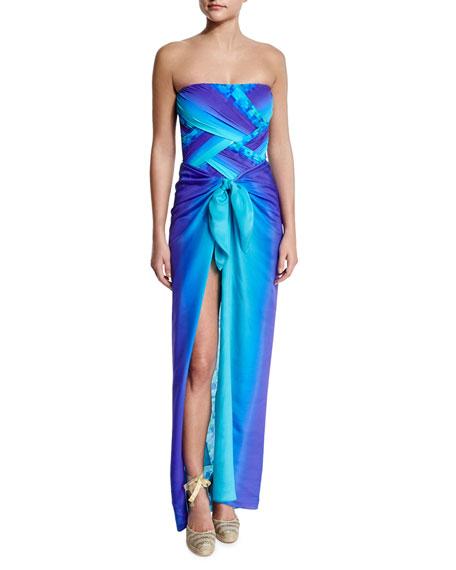 Gottex Pixel-Print Ombre One-Piece Bandeau Swimsuit
