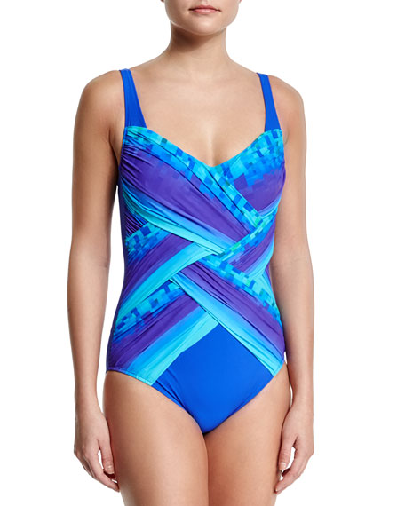 Gottex Pixel-Print Ombre Square-Neck Swimsuit