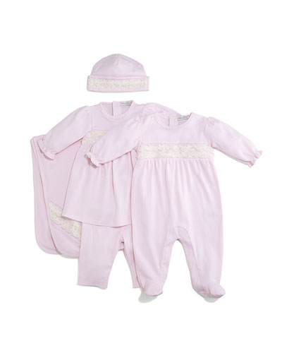 Winter Roses Pima Jersey Dress w/ Leggings, Footie Pajamas, Baby Hat & Blanket
