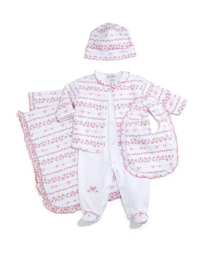 Rosebud Ribbons Pima Footie Pajamas w/ Jacket, Baby Hat, Bib & Blanket