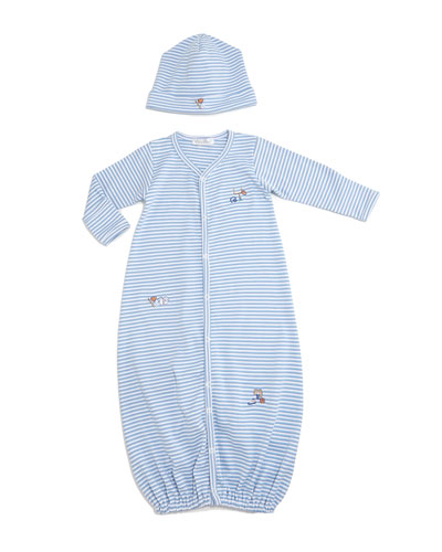 Sports Fan Striped Convertible Sleep Gown & Baby Hat