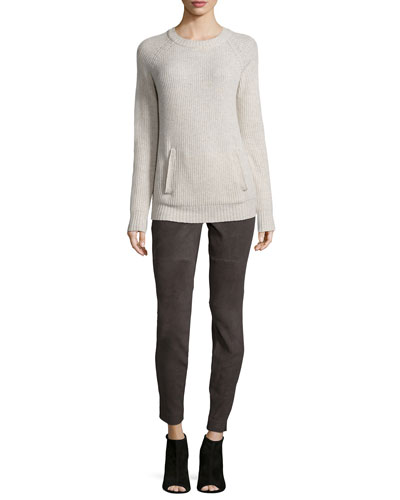Long-Sleeve Ribbed Kangaroo-Pocket Pullover & Stretch Leather and Ponte Biker Leggings
