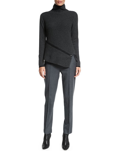 Vienna Turtleneck Asymmetric Sweater & Karis Stretch Flannel Slim Pants