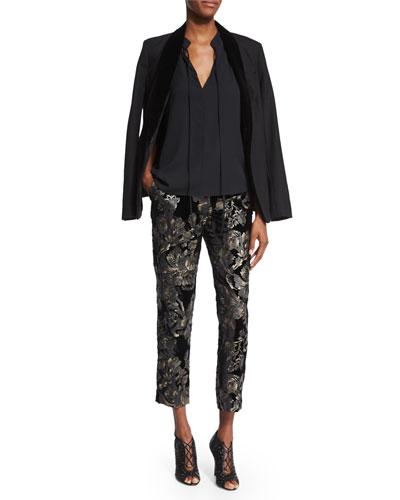 Eddie Tuxedo Blazer, Ivy Sleeveless Tie-Front Top & Baldwin Floral-Velvet Ankle Pants