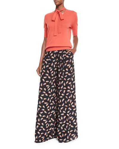 Half-Sleeve Neck-Tie Cashmere Sweater & Feather-Print Wide-Leg Pants