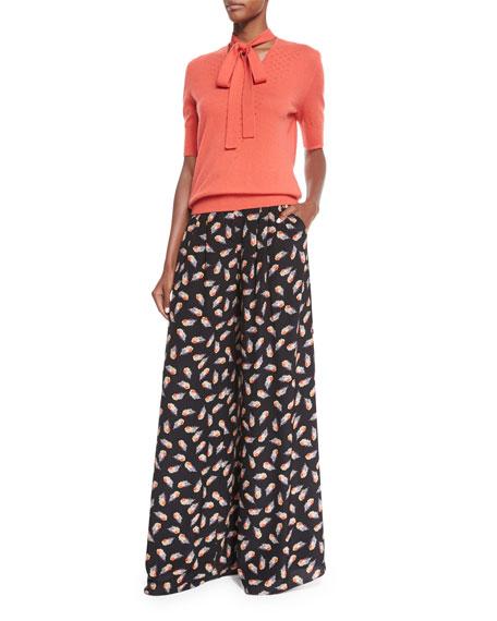 Carolina Herrera Half-Sleeve Neck-Tie Cashmere Sweater, Coral