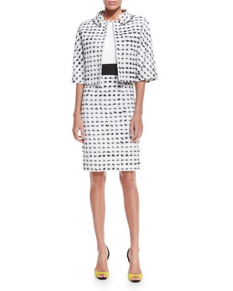 Carolina Herrera Short-Sleeve Cropped Tweed Jacket, Black/White