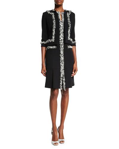 Sleeveless Shift Dress W/Tweed Trim & Tweed-Fringe Heavy Crepe Jacket